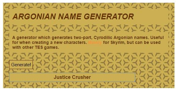 Best Argonian Name Generator - Best Skyrim Name Generators for Argonian, Dark Elf and Nord Names