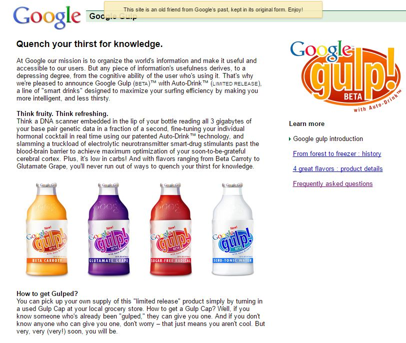 Google Gulp - Best Google April Fool Pranks - Google MentalPlex, Google Gulp and Other Funny Google's April Fool FAQs You Should Know