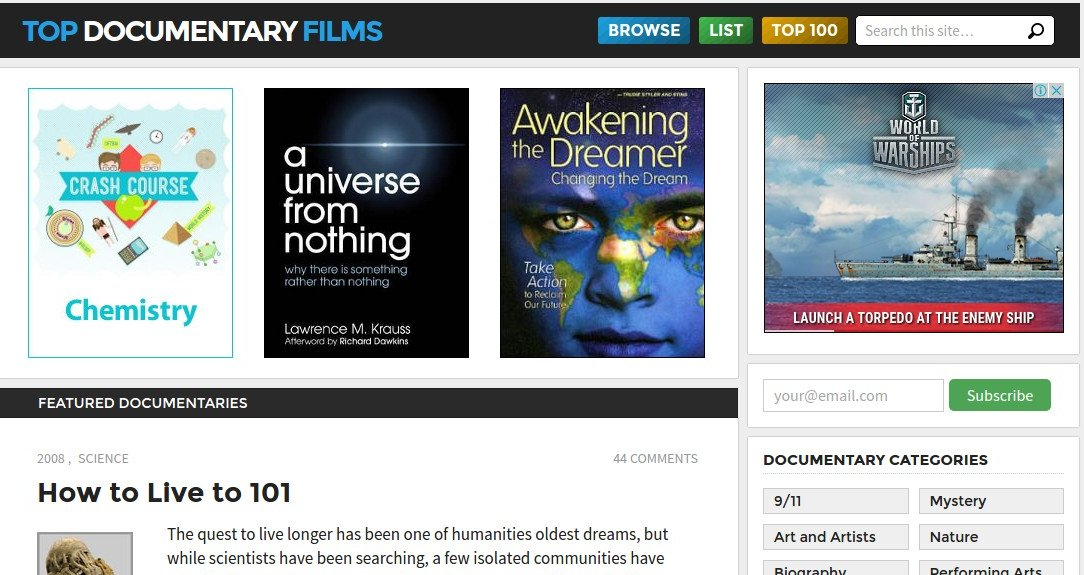 topdocumentary - Free Movie Sites - Top 10 Free Movie Sites to Legally Watch Full Length Movies Online Free