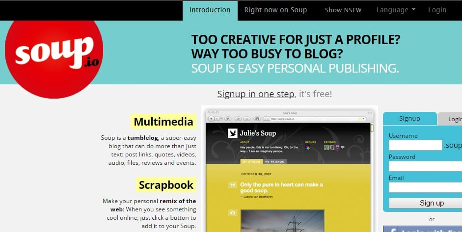 soup - Sites Like Tumblr: Top 10 Best Sites Like Tumblr to Start Blogging for Free