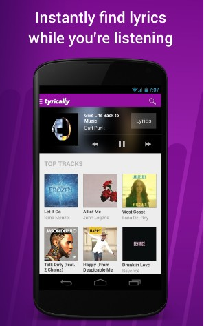 Lyrically - Best Song Lyrics Apps for Android - Best Apps for Lyrics