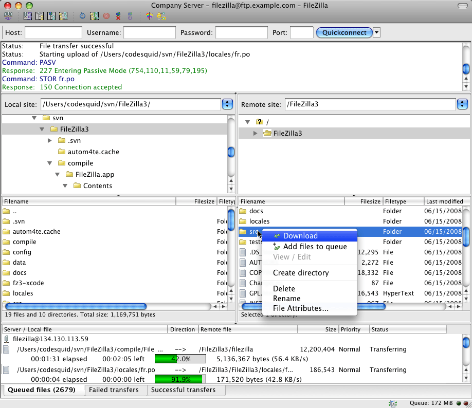 filezilla - best ftp clients - Best FTP Clients for Mac, Windows, and Linux Users