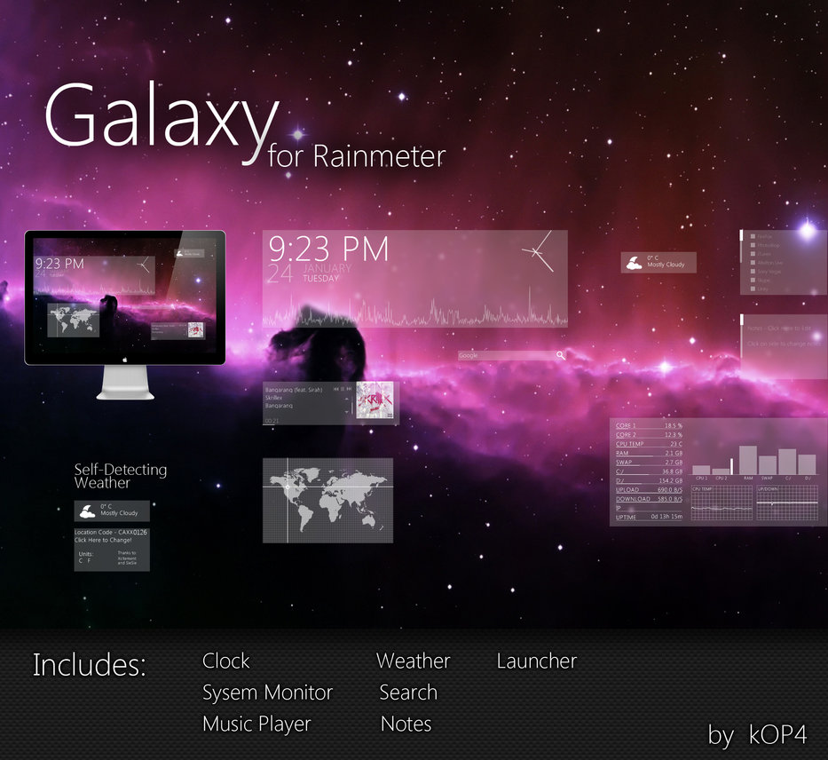 Galaxy for Rainmeter - Best Rainmeter Skins - Cool Skins for Rainmeter Theme - 20 Best Rainmeter Skins to Customize Rainmeter