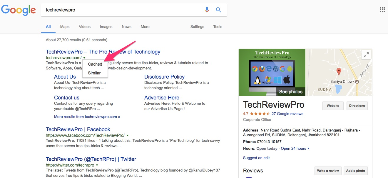 Google Search Tips Tricks - View Cache Version of a Website
