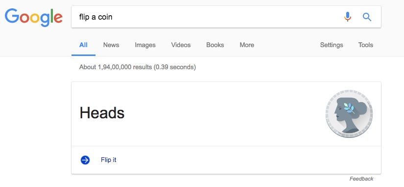Google Search Tips and Tricks to Make Google Flip a Coin