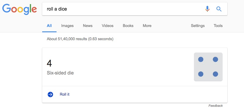 Google Search Tips and Tricks to Make Google Roll a Dice