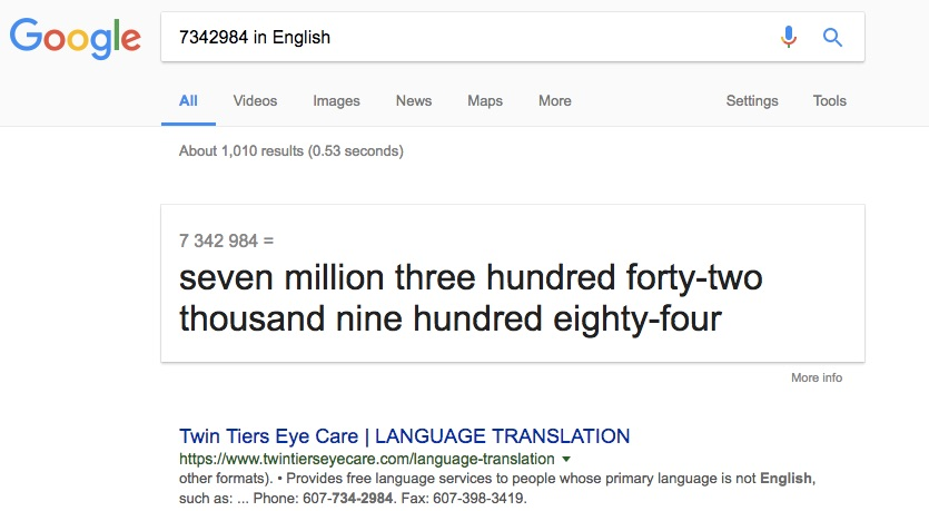 Google Search Tips and Tricks to Read Number in Words