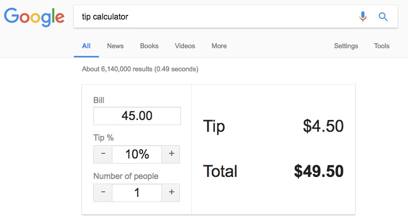 Tip Calculator - Google Search Tips and Tricks