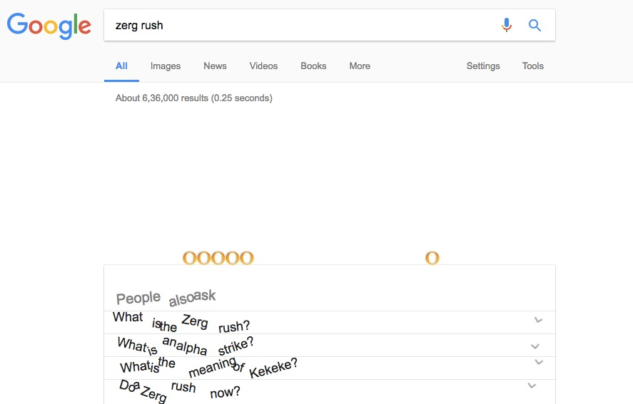 Zerg Rush - Google Search Tips and Tricks