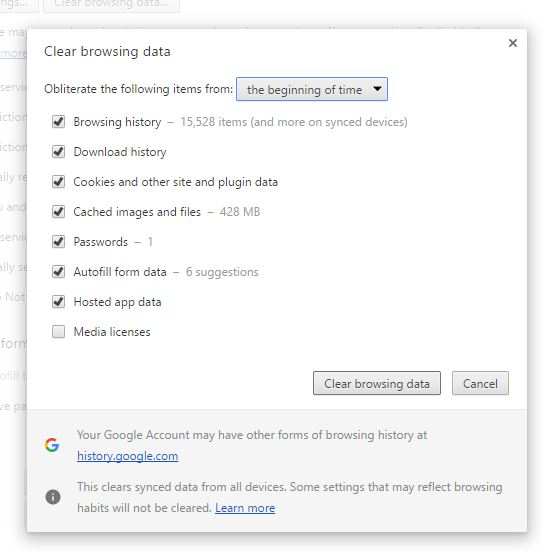 Clear Browsing Data - Fix DNS_PROBE_FINISHED_BAD_CONFIG in Chrome