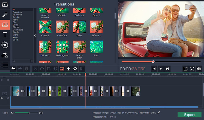Movavi Video Editor - Transitions - Best Video Editor for Windows
