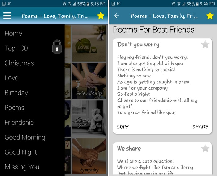 Poems for all occasions - Best Poetry Writing Apps to Learn Poetry Writing on Android
