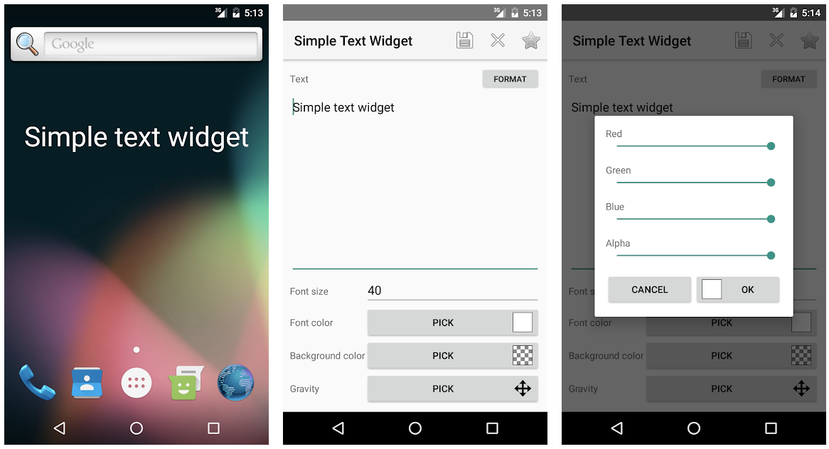Simple Text Widget - Best and Cool New Android Apps of the Month