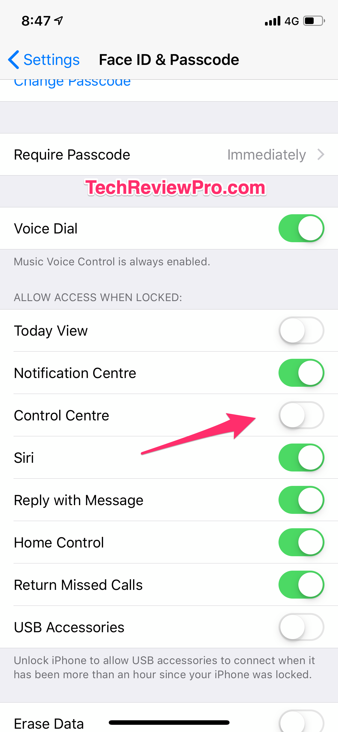 Turn Off Control Centre Access on Lock Screen
