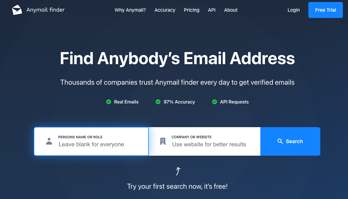 AnyMail Finder - best email finder tool for personal email IDs - Instagram email finder tool