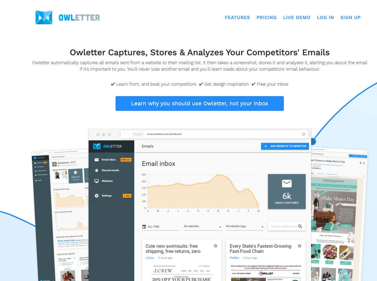 Owletter Competitive Intelligence Tool for Email Marketing - Best Competitive Intelligence Tools for Email Marketing Analysis